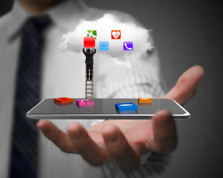 application icons: Man hand showing smart tablet with app blocks, businessman climbing ladder and getting red icon from white cloud. Stock Photo