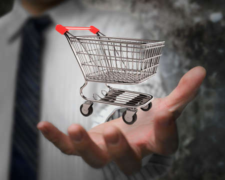 eshop: Business man hand showing empty shopping cart