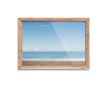 window view: Wooden frame window with view of blue sky, isolated on white background. Stock Photo