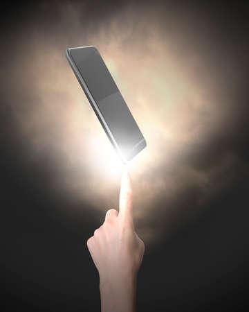 dedo indice: El dedo índice humano apuntando al teléfono inteligente, sobre fondo negro. Foto de archivo