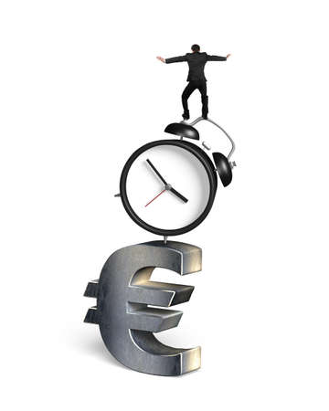 euro sign: Businessman balancing on alarm clock and euro sign, isolated on white background.