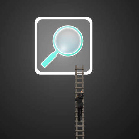 keywords link: Businessman climbing wooden ladder up to searching icon button, on black background.