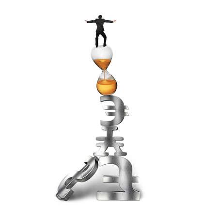signo pesos: El hombre de negocios de equilibrio en reloj de arena, en la parte superior de los s�mbolos de dinero de pila, aislados en fondo blanco. Foto de archivo
