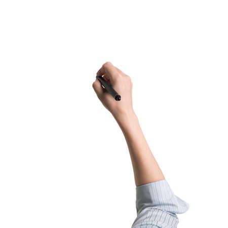zbraně: Ženská ruka držící pero psaní Vysoký úhel pohledu, na bílém. Reklamní fotografie