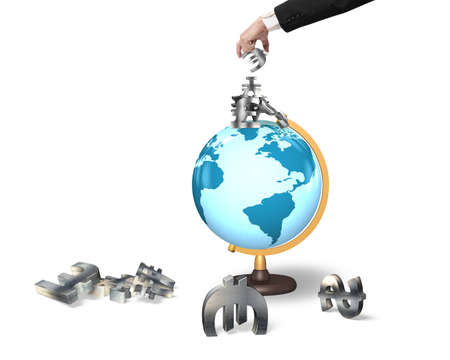 taking risks: Businessman hand taking euro sign with money symbols on terrestrial globe, isolated on white background.