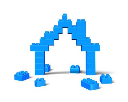 House shape of stack blocks, isolated on white background. Stock Photo