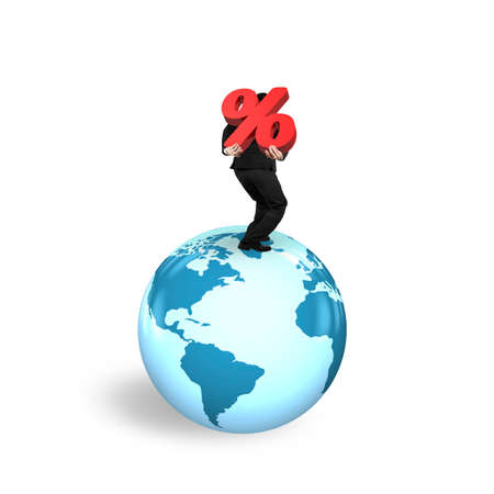businessman carrying a globe: Businessman carrying red percentage sign standing on globe with world map, isolated on white background. Stock Photo