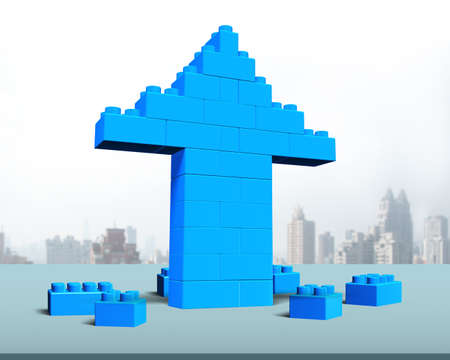 achievement concept: Arrow up shape of stack blocks on table, with city buildings background.