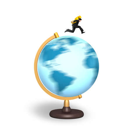 businessman carrying a globe: Businessman carrying gold dollar sign running on rotating globe, isolated on white background.