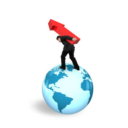 businessman carrying a globe: Businessman carrying red arrow up standing on globe with world map, isolated on white background.