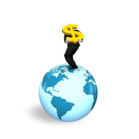 businessman carrying a globe: Man carrying gold dollar sign standing on globe with world map, isolated on white background.