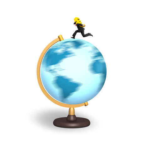 businessman carrying a globe: Businessman carrying gold euro sign running on rotating globe, isolated on white background.