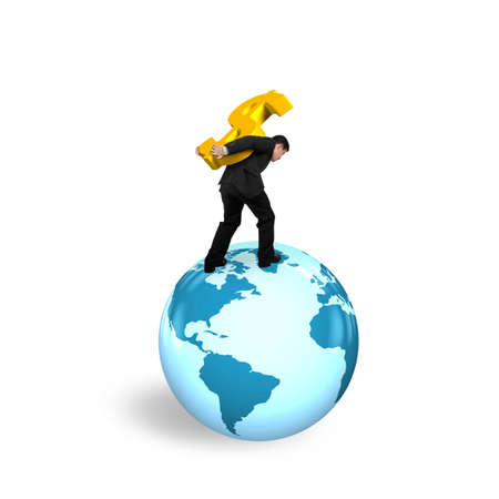 businessman carrying a globe: Businessman carrying gold dollar sign standing on globe with world map, isolated on white background.