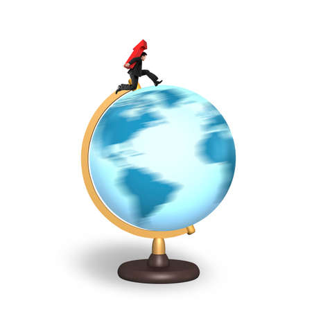 businessman carrying a globe: Businessman carrying red arrow up running on rotating globe, isolated on white background. Stock Photo