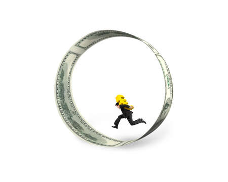 euro sign: Businessman carrying golden euro sign running in the circle of dollar bills, isolated on white background.