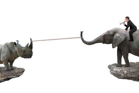 Man zit op de olifant tegen neushoorn met touw trekken op twee klippen, op een witte achtergrond. Concurrentie concept.