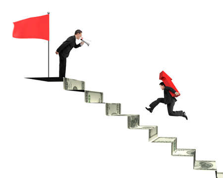 bussinessman: Leader, boss bussinessman holdnig speaker shouting at another carrying red arrow running on money stairs with red flag on top Stock Photo