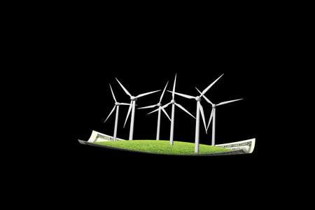 dinero volando: Turbinas de viento en dinero alfombra voladora, aislados en fondo negro Foto de archivo