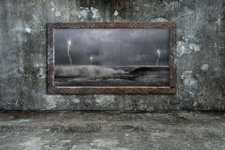 wooden boards: Dirty old wooden frame window on mossy concrete wall with storm outside, lightening, raining, ocean