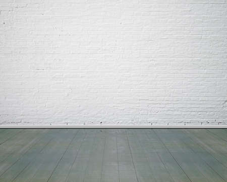 exterior wall: White brick wall with vintage wooden floor indoor, nobody, empty