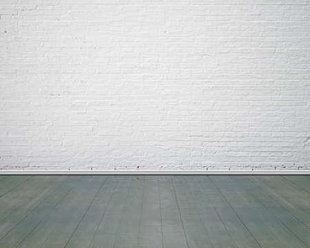 Witte bakstenen muur met vintage indoor houten vloer, niemand, lege