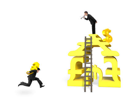 oversee: Man carrying Euro running for money stacking building with leader shouting isolated in white background