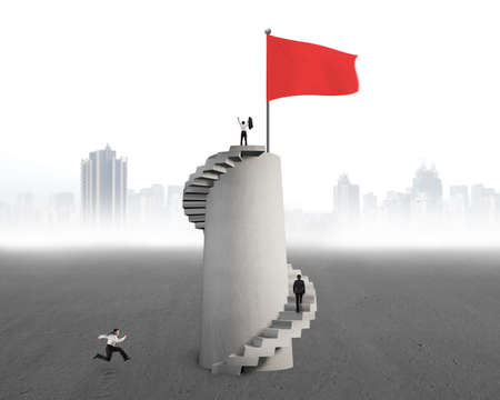 Businessmen competed each other to top of tower for red flag, one cheering, second climbing, latest running with mist city background Banco de Imagens