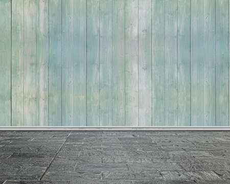 stone floor: Empty room interior with whit wooden wall and stone floor Stock Photo