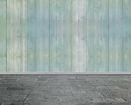 piso piedra: Interior de la sala vacía con pared de madera y suelo de piedra de la pizca Foto de archivo