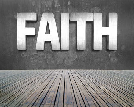 prinitng block: Faith word on concrete wall with wooden floor indoors background. Stock Photo