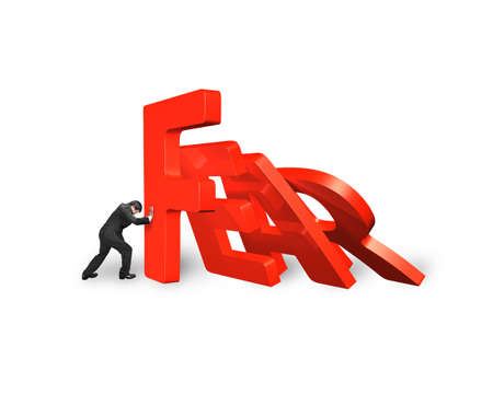 stopping: Businessman stopping domino of red fear word falling, isolated on white. Domino effect and problem solving of concepts.