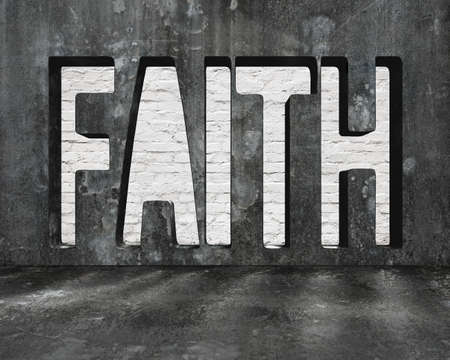 persist: Faith word on concrete wall with brick texture, on concrete floor indoors background.
