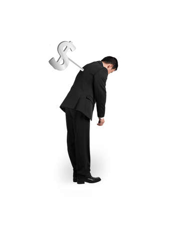 winder: Businessman tired with money winder on his back, isolated on white. Stock Photo