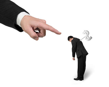winder: Hand pointing at another businessman tired with money winder on his back, isolated on white background.