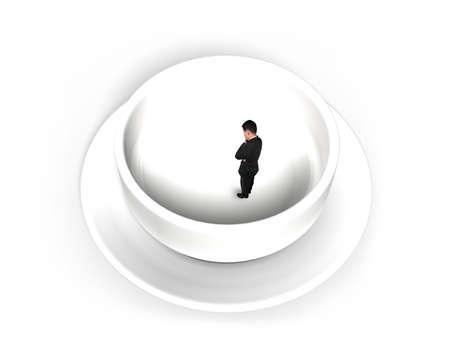 predicament: Businessman standing in empty soup bowl, isolated on white background.