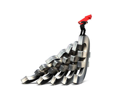 stabilize: Man carrying red arrow up, balancing on falling of Euro currency symbols, isolated on white. Domino effect and problem solving of concepts.