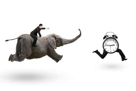 Man met wijstvinger gebaar rijden olifant en rennen na wekker met menselijke benen rennen, geïsoleerd op een witte achtergrond.