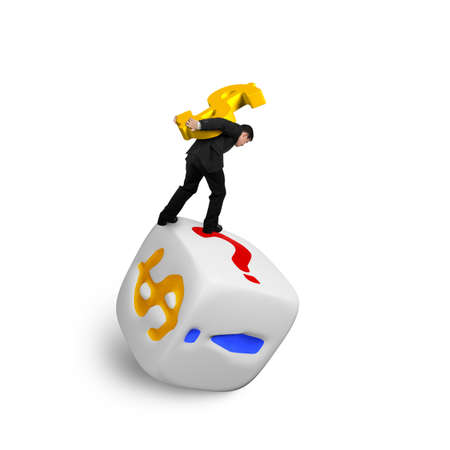 symbol  punctuation: Businessman carrying gold USD symbol balancing on dice of dollar sign and punctuation points, isolated on white.
