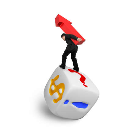 symbol  punctuation: Businessman carrying red arrow up symbol balancing on dice of dollar sign and punctuation points, isolated on white.