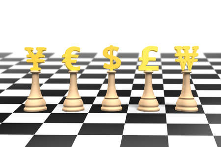 chessboard: 3D illustration, money chess with golden currency symbol on chessboard. Stock Photo