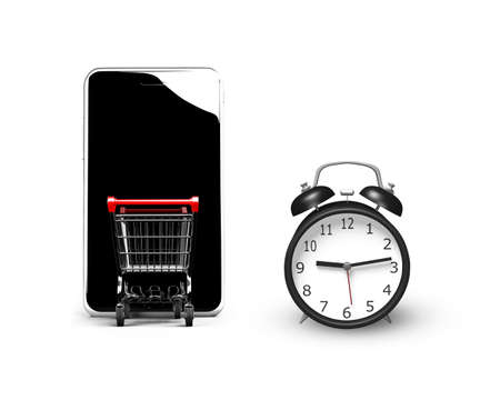 phone time: 3D illustration, alarm clock with small shopping cart entering smart phone of black screen, isolated on white, limited time shopping concept.