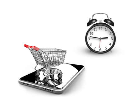 phone time: 3D illustration, alarm clock with small shopping cart on smart phone, isolated on white, limited time shopping concept.