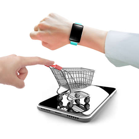 forefinger: Woman hand wearing smart watch with forefinger pushing small shopping cart on smart phone, isolated on white, limited time shopping concept.