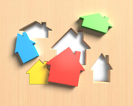 Different colorful houses suit house shape holes of wooden board, 3D illustration. Imagens