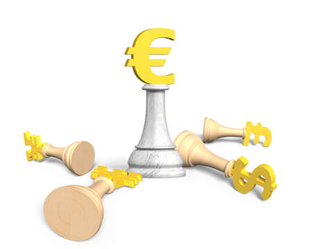 team concept: Money chess with golden euro currency king, isolated on white background, 3D illustration. Stock Photo
