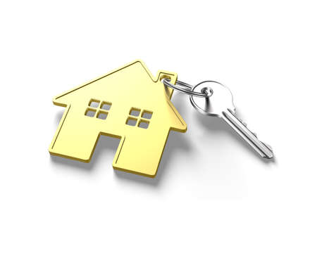 gold house: Silver key and gold house shape key ring, isolated on white background, 3D illustration. Stock Photo