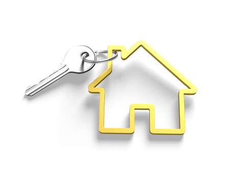 key ring: Silver key and house shape key ring, isolated on white background, 3D illustration.