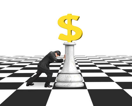 playing the market: Man pushing money chess of golden dollar currency on chessboard, with white background.