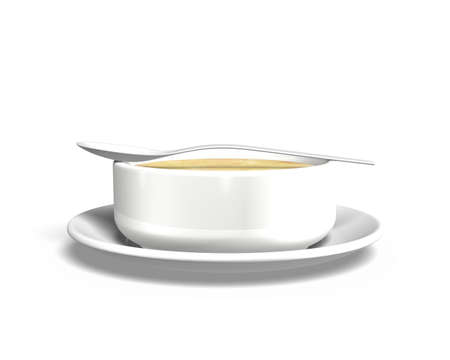 soup spoon: Soup bowl with tray and spoon, isolated on white, 3D illustration. Stock Photo
