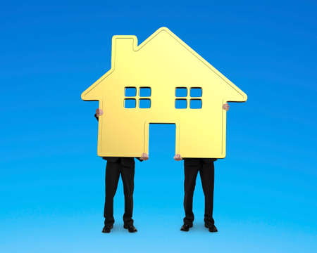 gold house: Two businessmen holding gold house together, on blue background.